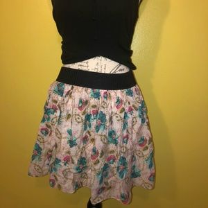 BLUE AND PINK FLORAL SKIRT